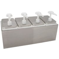 Carlisle 38504 10 Qt. Condiment Dispenser Rail with 4 Standard Pumps