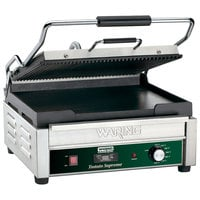 Waring WDG250T Grooved Top & Smooth Bottom Panini Sandwich Grill with Timer - 14 1/2 inch x 11 inch Cooking Surface - 120V, 1800W