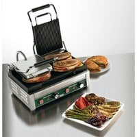 Waring WPG300T Panini Ottimo Grooved Top & Bottom Panini Sandwich Grill with Timers - 17 inch x 9 1/4 inch Cooking Surface - 240V, 3120W