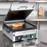 Waring WFG275T Tostato Supremo Smooth Top & Bottom Panini Sandwich Grill with Timer - 14 inch x 14 inch Cooking Surface - 120V, 1800W