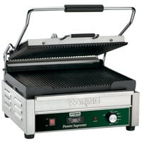 Waring WPG250T Panini Supremo Grooved Top & Bottom Panini Sandwich Grill with Timer - 14 1/2 inch x 11 inch Cooking Surface - 120V, 1800W