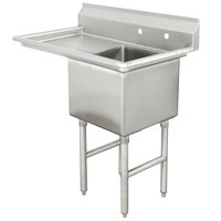 Advance Tabco FC-1-1818-18 One Compartment Stainless Steel Commercial Sink with One Drainboard - 38 1/2 inch - Right Drainboard