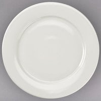Choice 12 inch Ivory (American White) Wide Rim Rolled Edge Stoneware Plate - 12/Case