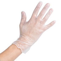 Noble Products Medium Powdered Disposable Vinyl Gloves for Foodservice - Case of 1000 (10 Boxes of 100)