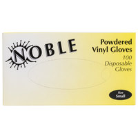 Noble Products Small Powdered Disposable Vinyl Gloves for Foodservice - Case of 1000 (10 Boxes of 100)
