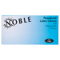 Noble Products Large Powdered Disposable Latex Gloves for Foodservice - Case of 1000 (10 Boxes of 100)