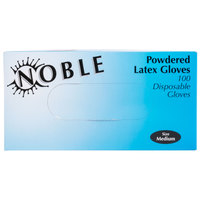 Noble Products Medium Powdered Disposable Latex Gloves for Foodservice - Case of 1000 (10 Boxes of 100)