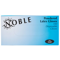 Noble Products Small Powdered Disposable Latex Gloves for Foodservice - Case of 1000 (10 Boxes of 100)