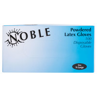 Noble Products Extra-Large Powdered Disposable Latex Gloves for Foodservice - Case of 1000 (10 Boxes of 100)