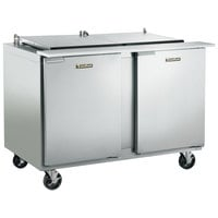 Traulsen UST4812-RR-SB 48 inch 2 Right Hinged Door Stainless Steel Back Refrigerated Sandwich Prep Table