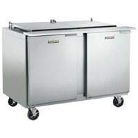 Traulsen UST4818-LL-SB 48 inch 2 Left Hinged Door Stainless Steel Back Refrigerated Sandwich Prep Table