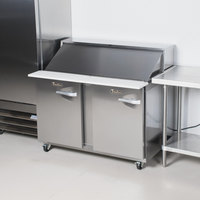 Traulsen UPT488-LL-SB 48 inch 2 Left Hinged Door Stainless Steel Back Refrigerated Sandwich Prep Table