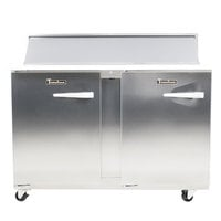 Traulsen UPT4812-LL-SB 48 inch 2 Left Hinged Door Stainless Steel Back Refrigerated Sandwich Prep Table