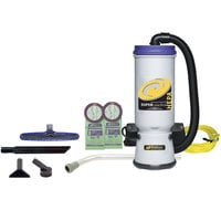 ProTeam 107109 10 Qt. Super CoachVac HEPA Backpack Vacuum Cleaner with 107098 Xover Floor Tool Kit B - 120V