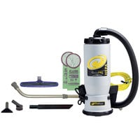 ProTeam 107146 6 Qt. QuietPro BP HEPA Backpack Vacuum with 107100 Xover Floor Tool Kit D and HEPA Filtration System - 120V