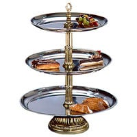 "Apex CLA21-1814-G Classic Series Three Tier Food Tray with Gold Column - 27"" High"