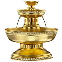 Apex 3002-GT Maitre'd 5 Gallon Gold Aluminum Beverage Fountain with Gold Trim & Floral Cup