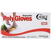 Choice Disposable Poly Gloves - Large for Food Service - Case of 10000 (20 Boxes of 500)