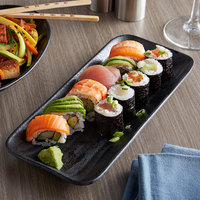 Elite Global Solutions JW5411 Zen 10 7/8 inch x 4 5/8 inch Black Rectangular Wave Tray - 6/Case