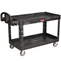 Rubbermaid FG454600BLA Black Large Lipped Two Lipped Shelf Utility Cart with Ergonomic Handle