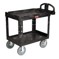 Rubbermaid FG452010BLA Black Medium Lipped Heavy Duty Two Shelf Utility Cart with Ergonomic Handle and 8 inch Pneumatic Casters