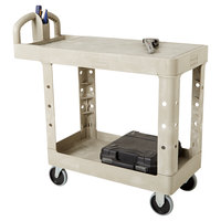 Rubbermaid FG450500BEIG Beige Small Flat Two Shelf Utility Cart with Ergonomic Handle