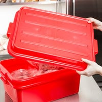 Vollrath 1500-C02 Traex® Color-Mate Red Raised Snap-On Food Storage Box Lid - 20 inch x 5 inch x 2 1/2 inch