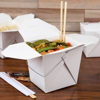 Fold-Pak 64WHWHITEM 64 oz. White Chinese / Asian Paper Take-Out Container with Wire Handle - 200/Case