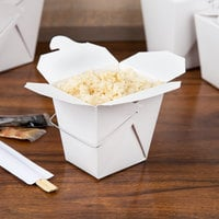 Fold-Pak 16WHWHITEM 16 oz. White Chinese / Asian Paper Take-Out Container with Wire Handle - 500/Case