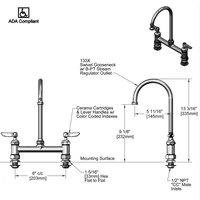 T&S B-0321-CC-CR Deck Mounted Faucet with 8 inch Centers, 13 3/16 inch High Swivel Gooseneck, Cerama Cartridges, and CC Connections
