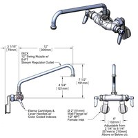 T&S B-0236-CR Wall Mounted Pantry Faucet with Adjustable Centers, 12 inch Swing Nozzle, and Cerama Cartridges