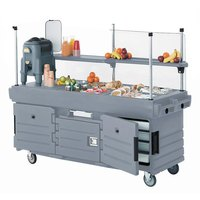 Cambro KVC854191 CamKiosk Granite Gray Vending Cart with 4 Pan Wells