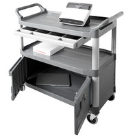Rubbermaid FG409400GRAY Xtra Gray 300 lb. Instrument Cart with Lockable Doors and Sliding Drawers