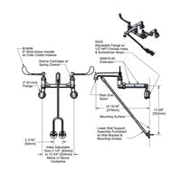 T&S B-0650-02 Wall Mount Mop Sink Faucet with 8 inch Adjustable Arm Centers, 6 inch Wrist Action Handles, Extended Lower Support, and Eterna Cartridges
