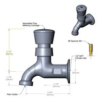T&S B-0700-01 Wall Mount Single Temperature Faucet with Push Button Metering Cartridge