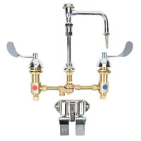 T&S B-0850-01-PV Deck Mount Widespread Mixing Faucet with 8 inch Adjustable Centers, Serrated Nozzle, 4 inch Wrist Action Handles, and Double Valve Pedal