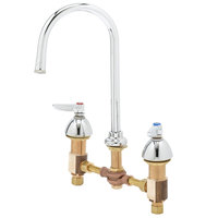 T&S B-0850-PV Deck Mount Mixing Faucet with 8 inch Centers, 10 11/16 inch Gooseneck, Escutcheons, and Pedal Valve Connection