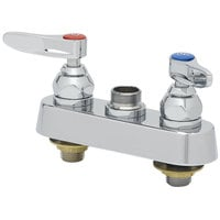 T&S B-1110-XS-LN Deck Mount Workboard Faucet Base with 4 inch Centers, Escutcheon, and Tailpieces
