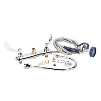 T&S B-1176 Deck Mount Workboard Faucet with 8 inch Centers, 13 3/4 inch Gooseneck, 84 inch Hose, and EB-0107 Blue Spray Valve