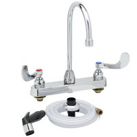 T&S B-1172-07-WH4 Deck Mount Workboard Faucet with 8 inch Centers, 12 1/8 inch Gooseneck, 4 inch Wrist Action Handles, and Sidespray