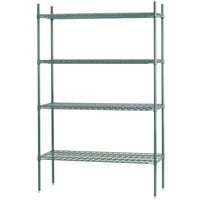 Advance Tabco EGG-1460 4-Shelf NSF Green Epoxy Coated Wire Shelving Combo - 14 inch x 60 inch x 74 inch