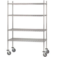 Advance Tabco MC-2460R Chrome Plated Mobile Wire Shelving Unit with Rubber Swivel Casters - 24 inch x 60 inch