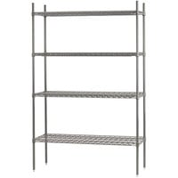 Advance Tabco ECC-2472 4-Shelf NSF Chrome Wire Shelving Combo - 24 inch x 72 inch x 74 inch