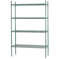 Advance Tabco EGG-2436 4-Shelf NSF Green Epoxy Coated Wire Shelving Combo - 24 inch x 36 inch x 74 inch