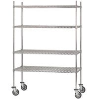 Advance Tabco MC-2448R Chrome Plated Mobile Wire Shelving Unit with Rubber Swivel Casters - 24 inch x 48 inch