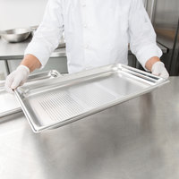 Vollrath 90013 Super Pan 3® Full Size 1 1/2 inch Deep Anti-Jam Perforated Stainless Steel Table / Hotel Pan - 22 Gauge