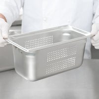 Vollrath 90363 Super Pan 3® 1/3 Size 6 inch Deep Anti-Jam Perforated Stainless Steel Steam Table / Hotel Pan - 22 Gauge