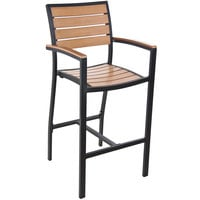 BFM Seating PH101BTKBL Largo Outdoor / Indoor Synthetic Teak Black Bar Height Arm Chair