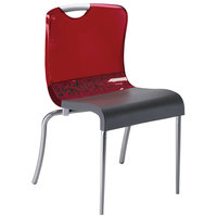 Grosfillex US228207 Krystal Red Resin Indoor Stacking Chair - 4/Pack