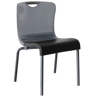 Grosfillex US228208 Krystal Smoke Resin Indoor Stacking Chair - 4/Pack